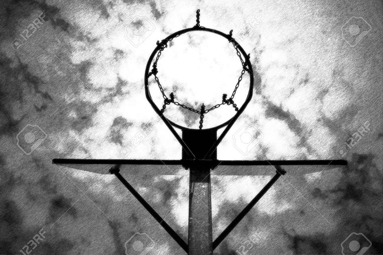 Black and white dashed retro sketch old neglect basketball backboard with rusty hoop above street