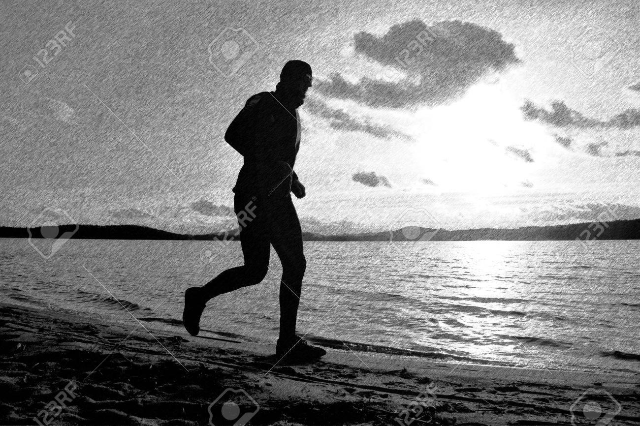 Black and white dashed retro sketch running man on beach sportsman run in baseball