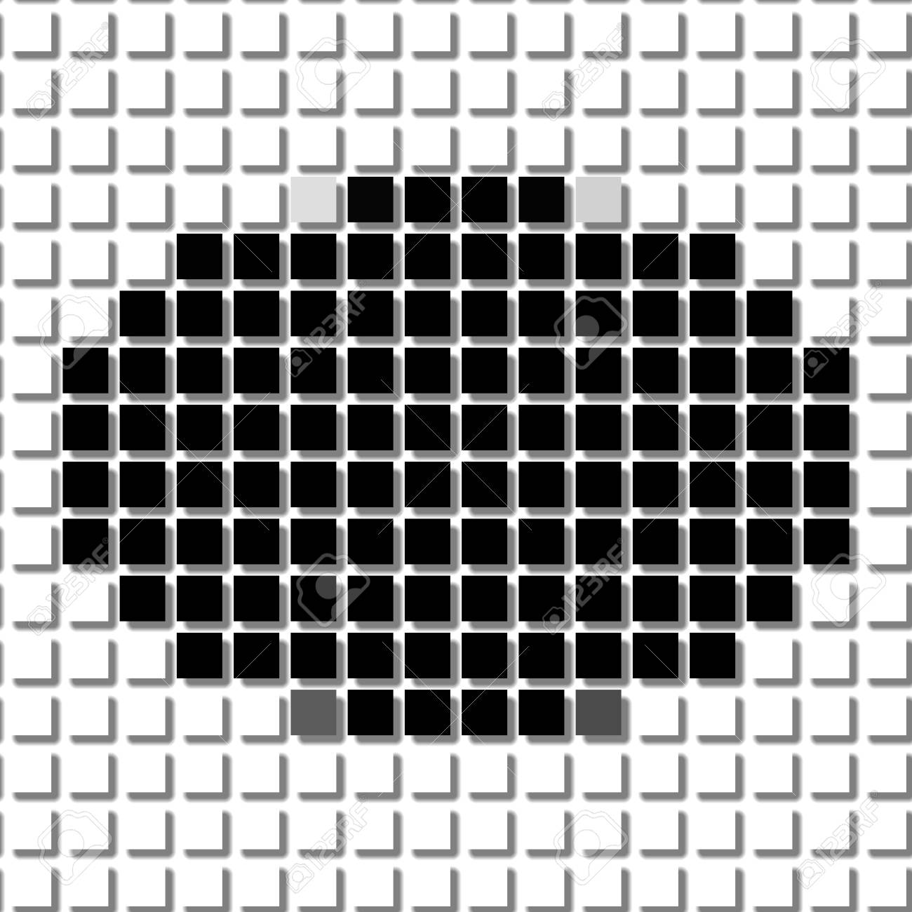 Ellipse. The Simple Geometric Pattern Of Black Squares With Shadowed ...