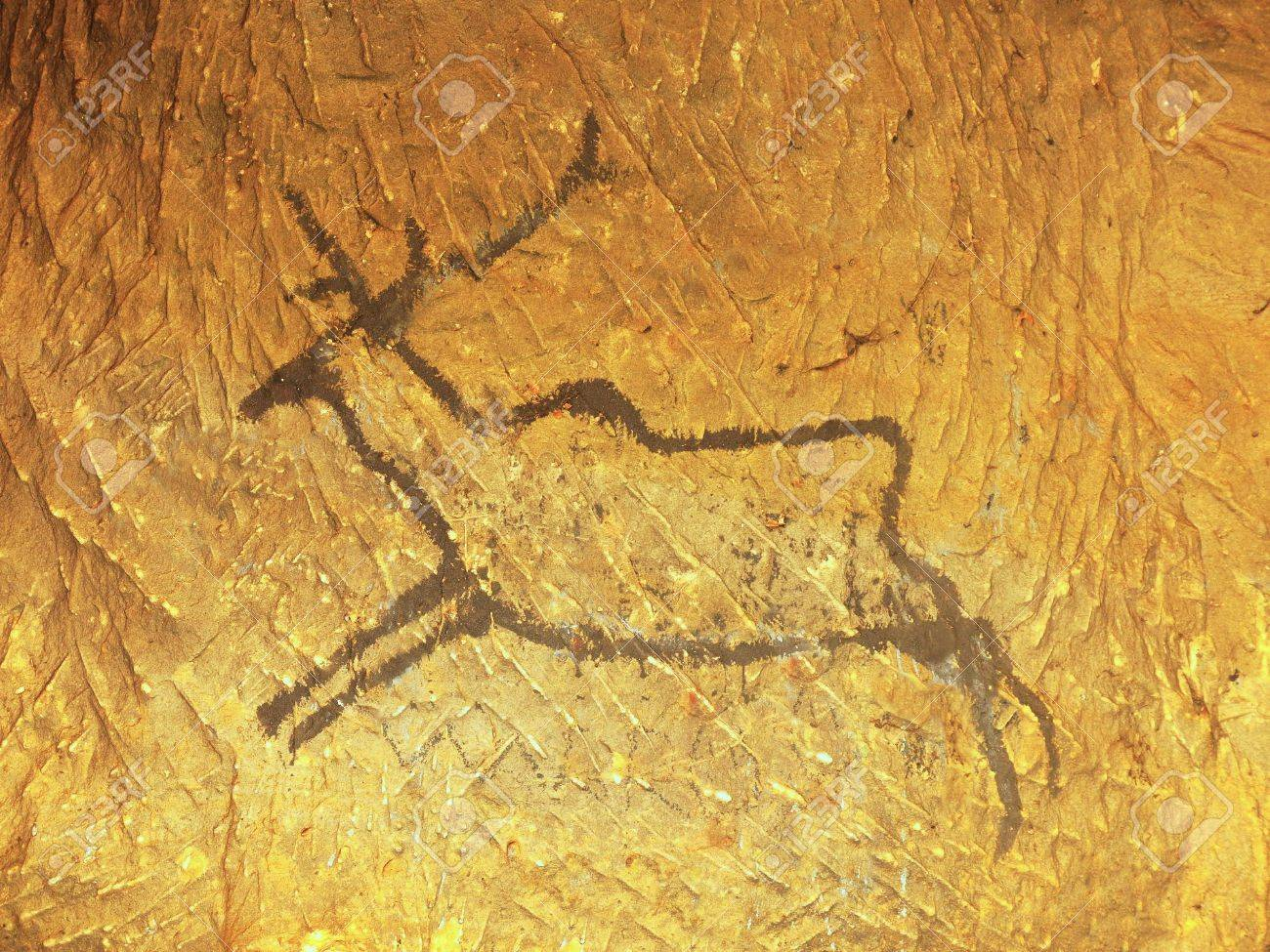 Black Carbon Paint Of Deer On Sandstone Wall, Copy Of Prehistoric ...