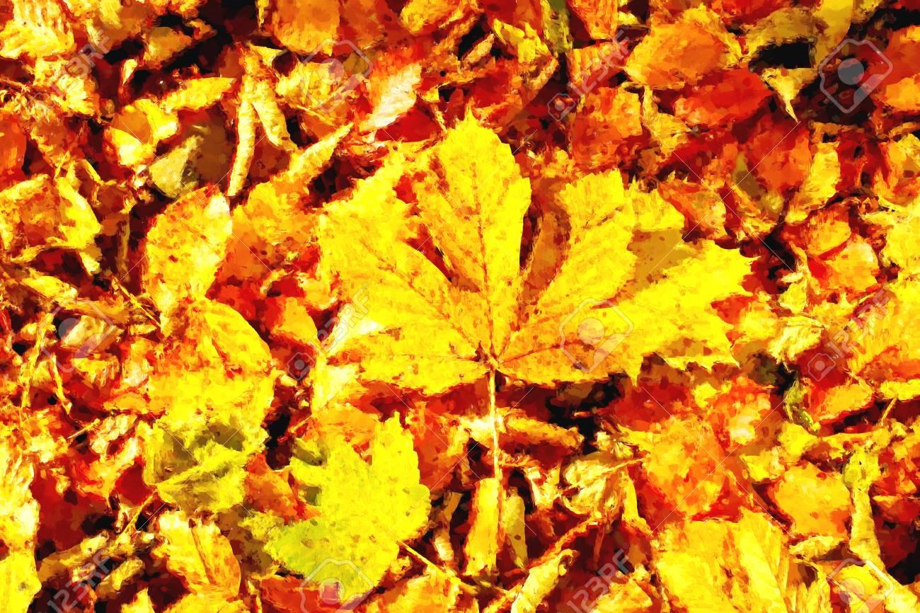 Watercolor paint  Paint effect  Autumn park ground with autumn
