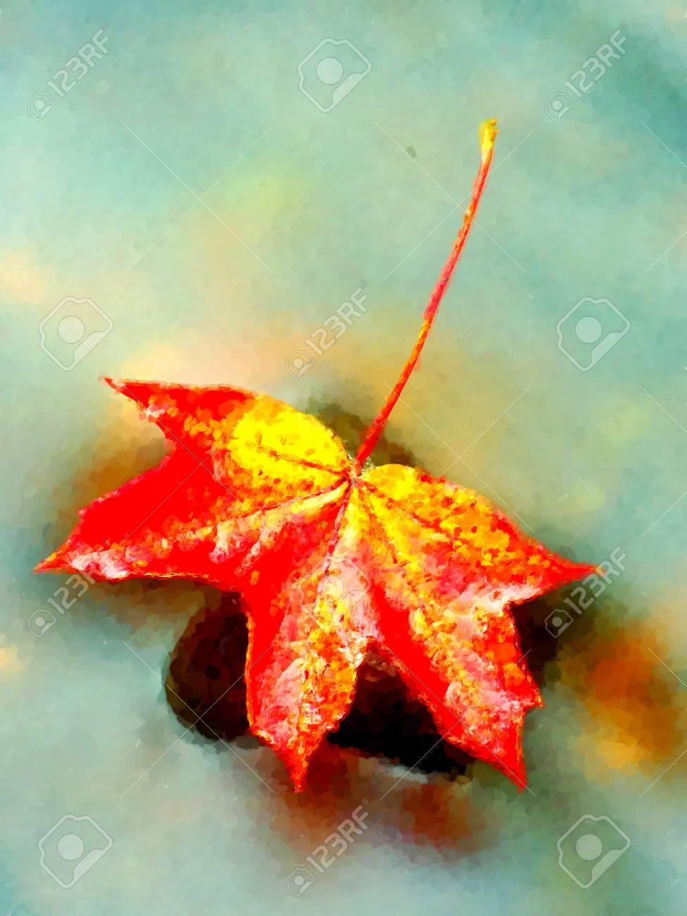 Effet De Peinture Aquarelle Feuilles D Automne Rouge Jaune Orange Sur L Eau Feuilles Sechees Tombees Dans L Eau Froide Banque D Images Et Photos Libres De Droits Image 70433384