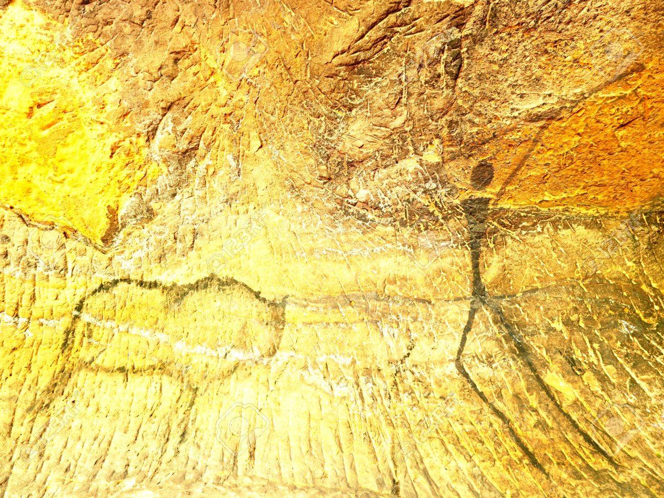 Buffalo Hunting. Paint Of Human Hunting On Sandstone Wall ...