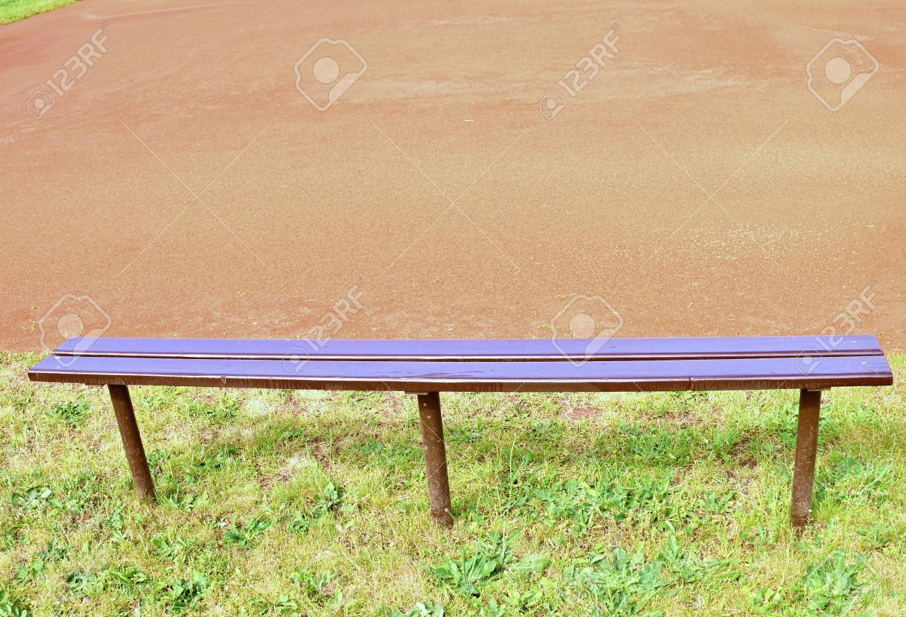 Awesome Wooden Bench Empty Seats On Outdoor Tennis Court Stadium Bench Pabps2019 Chair Design Images Pabps2019Com