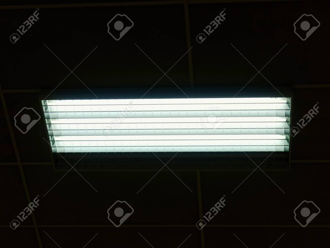 Lighted panel of mercury fluorescent lamp tubes lights system lighted panel of mercury fluorescent lamp tubes lights system in line on ceiling of office aloadofball Image collections