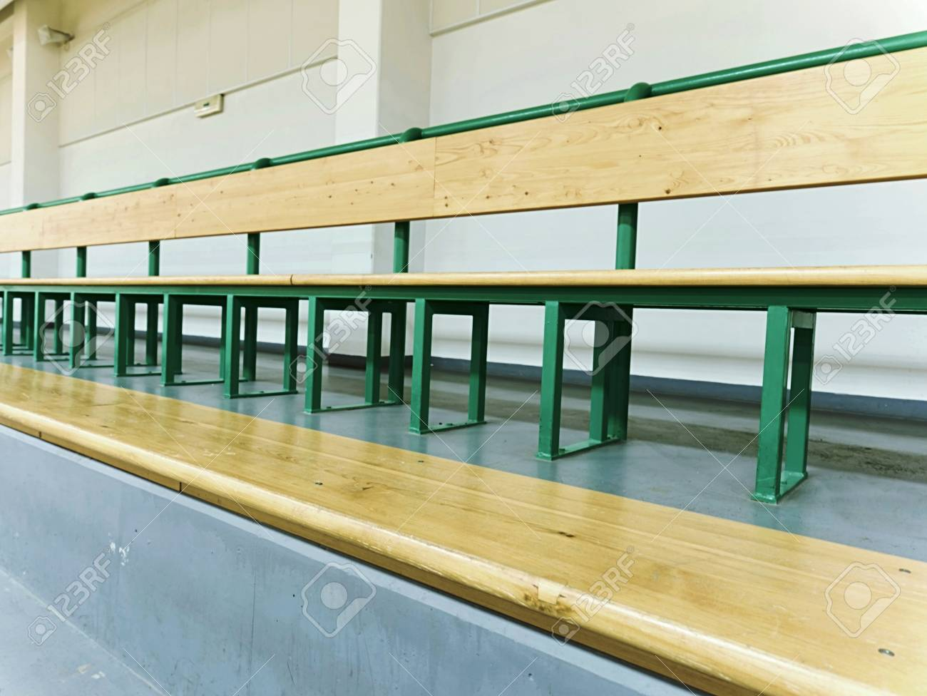 Astounding Empty Wooden Seats In A Sports Stadium Tribune For Fans Of Machost Co Dining Chair Design Ideas Machostcouk