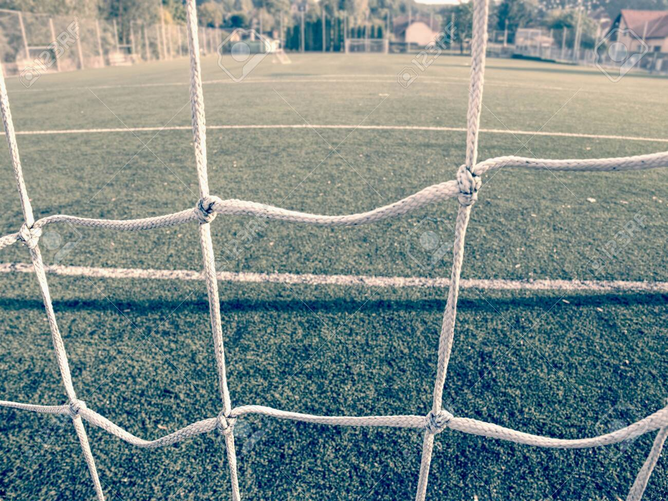 Wet Green Grass Carpet With White Lines Soccer Field On Outdoor Stock Photo Picture And Royalty Free Image Image 122292829