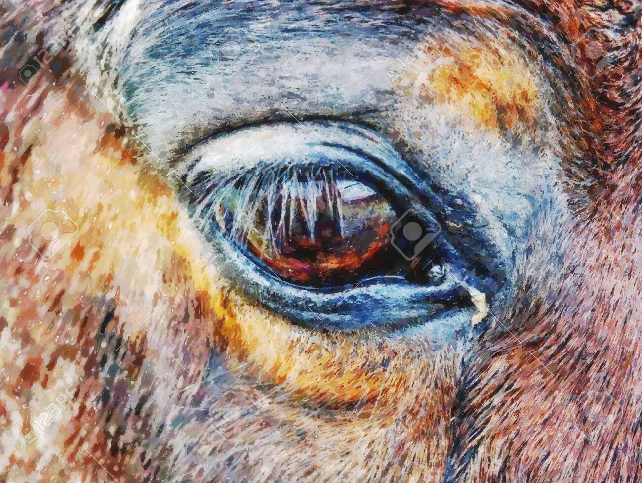 Effect Watercolor Paint Light Brown Horse Head With Dark Eye Stock Photo Picture And Royalty Free Image Image 123551227