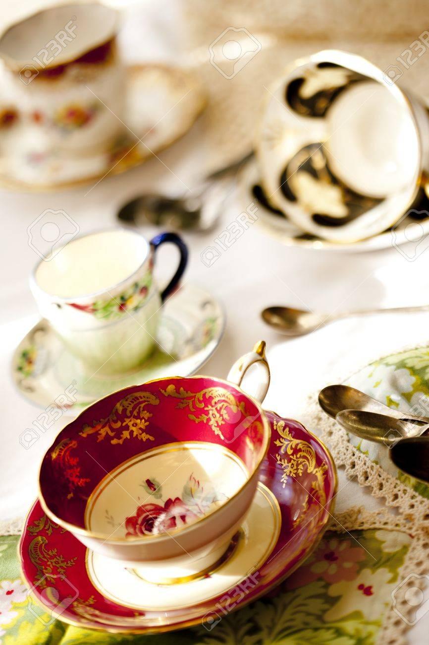 Antique fine bone china tea cups and saucers Stock Photo - 12421236