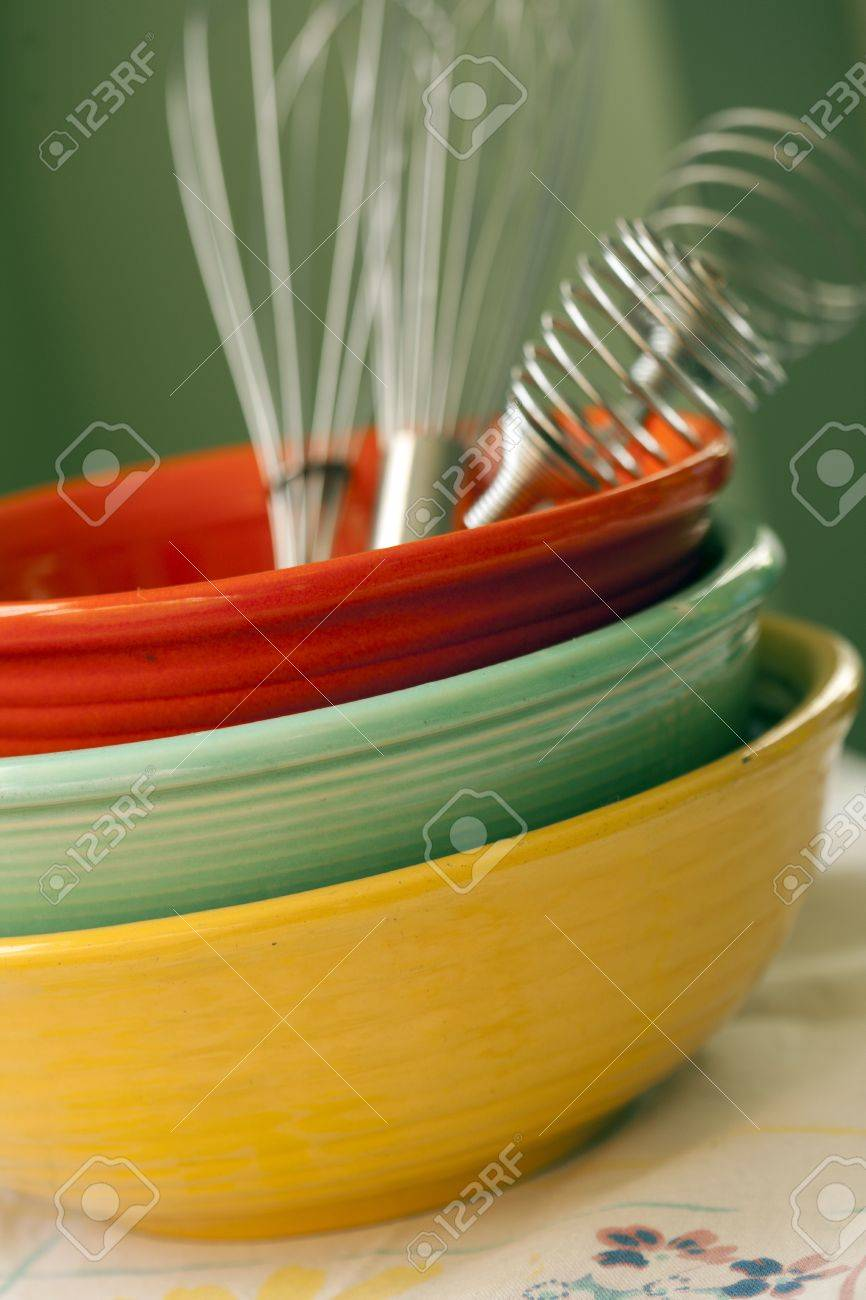 Vintage dishware, glasses, plates, silvware, cooking untensils, glasses, cups, bowls, mid-century, modern, antique Stock Photo - 12745643