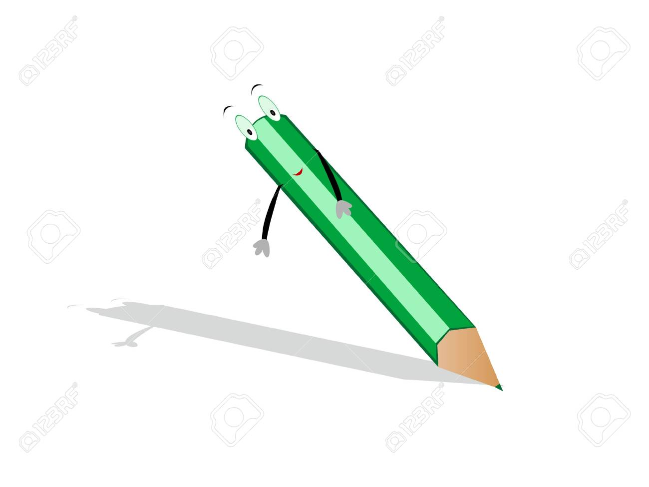pencil with eyes and hands on isolated  background Stock Photo - 3307370