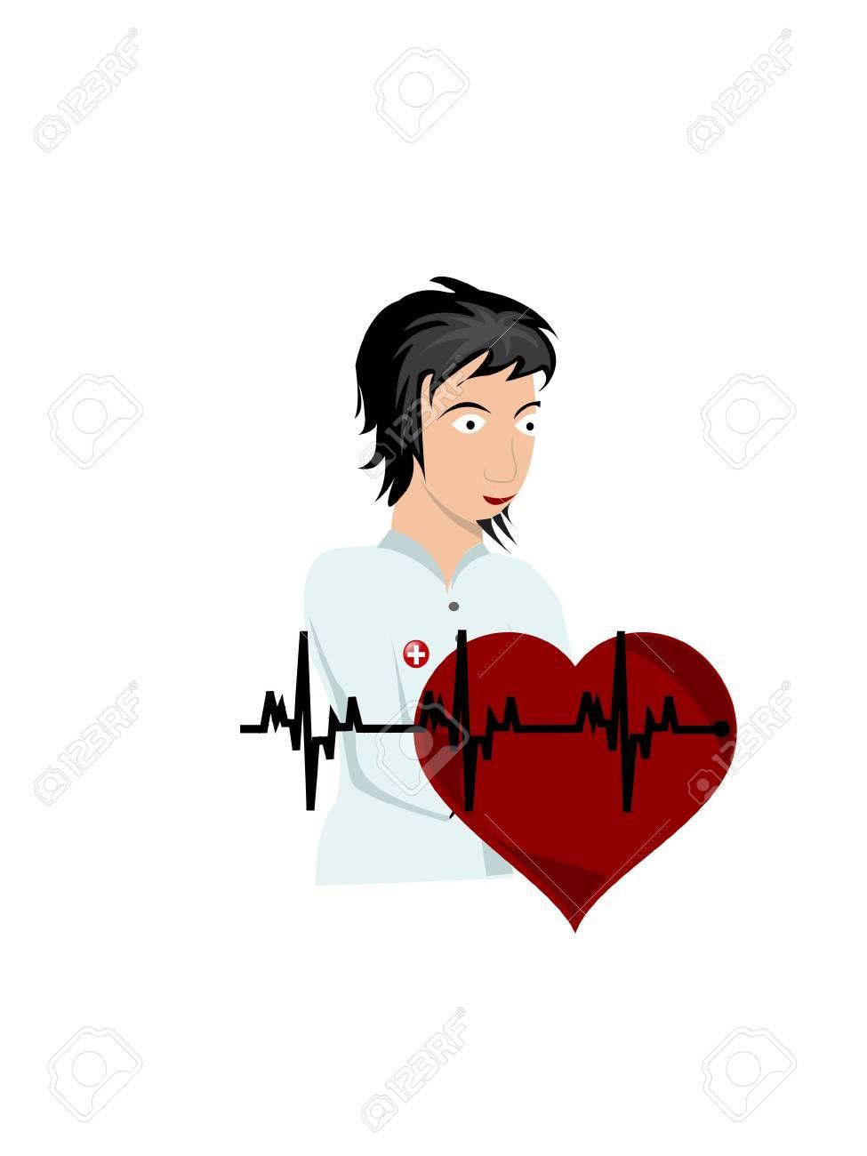nurse and heartbeats on isolated background Stock Photo - 3307570