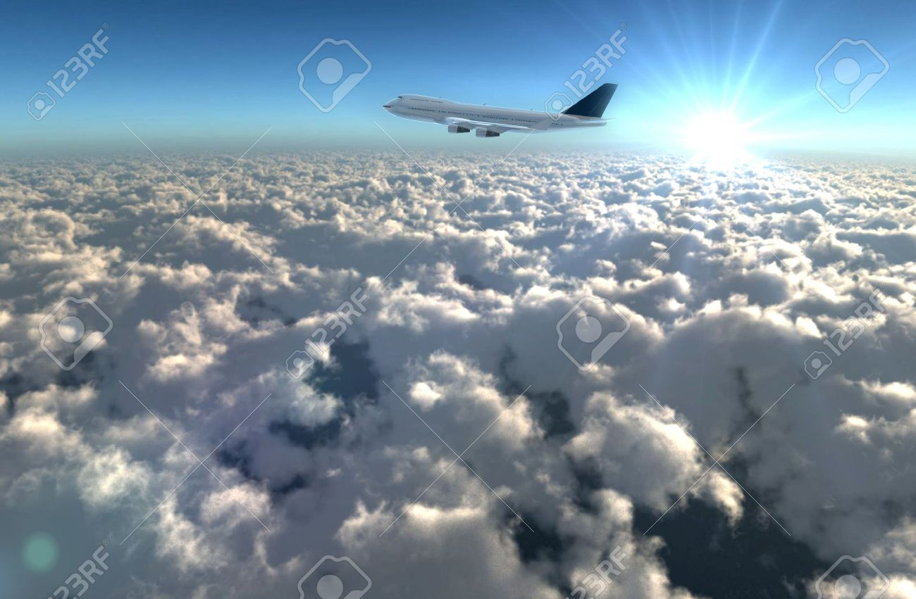 a airplane flying in the sky, provide a travel and airline services concept. Stock Photo - 11193840