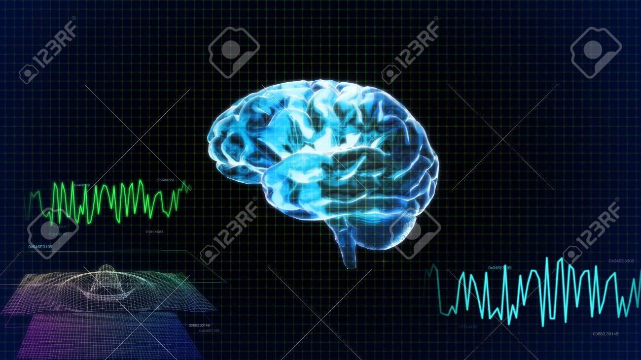 the crystal brain render for medical and biology concept - 12403661