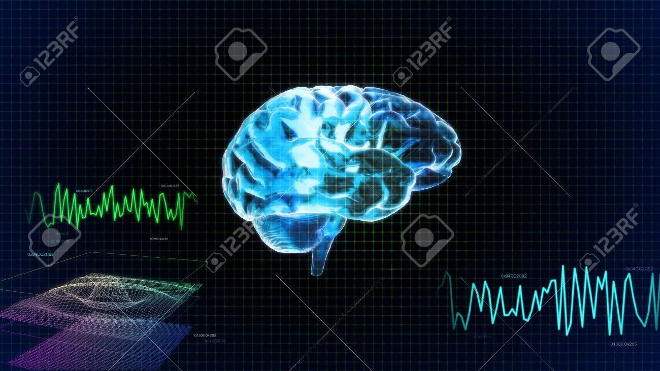 the crystal brain render for medical and biology concept - 12403651