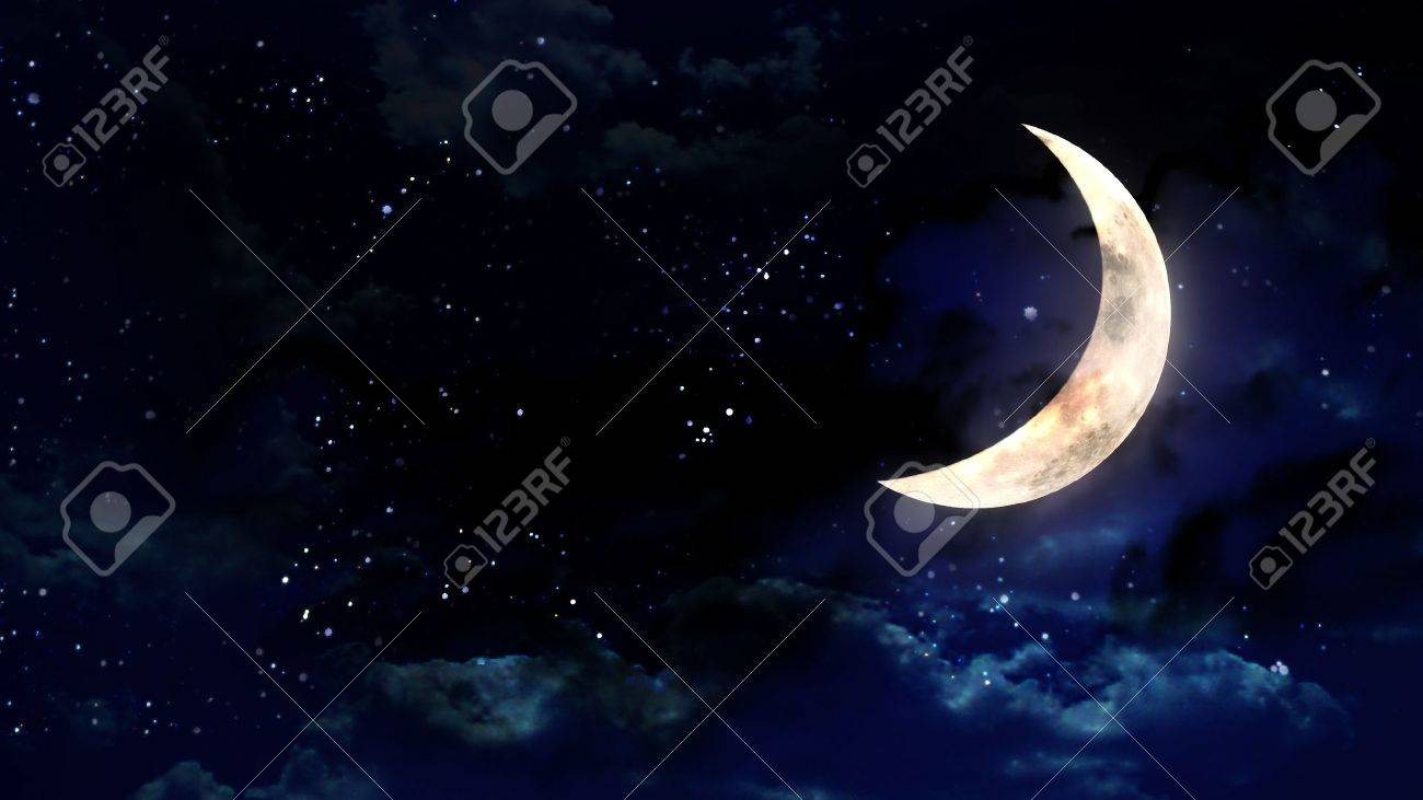 the beauty moon in the night sky - 12403414