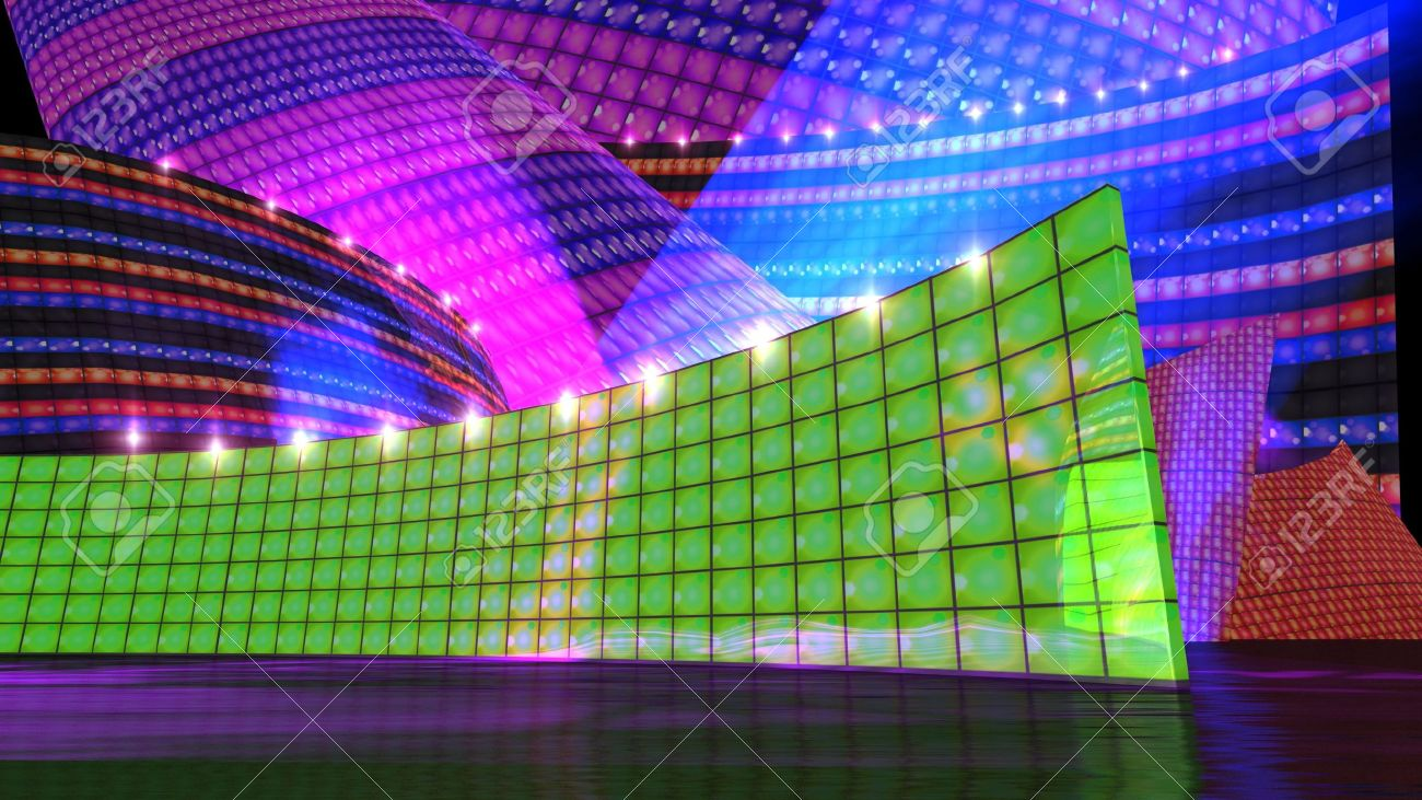 The disco stage background for virtual set - 12403809