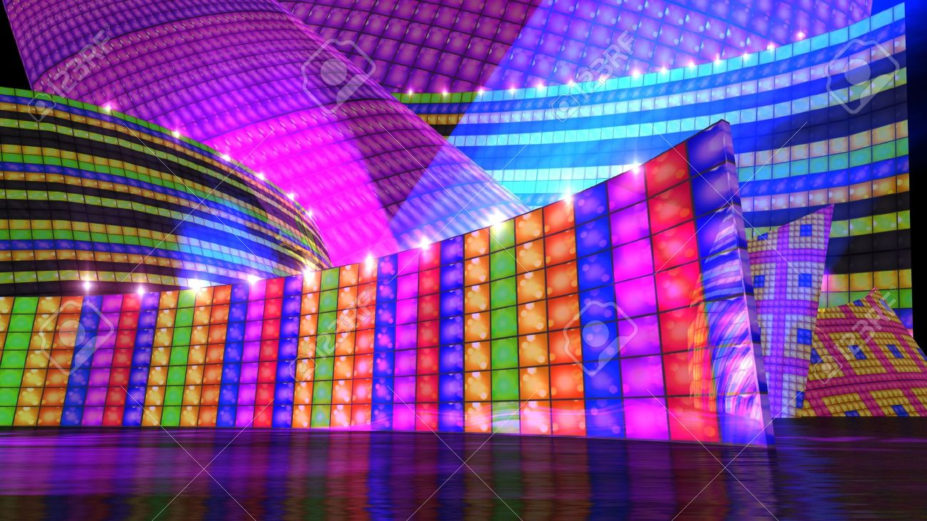 The disco stage background for virtual set - 12403820