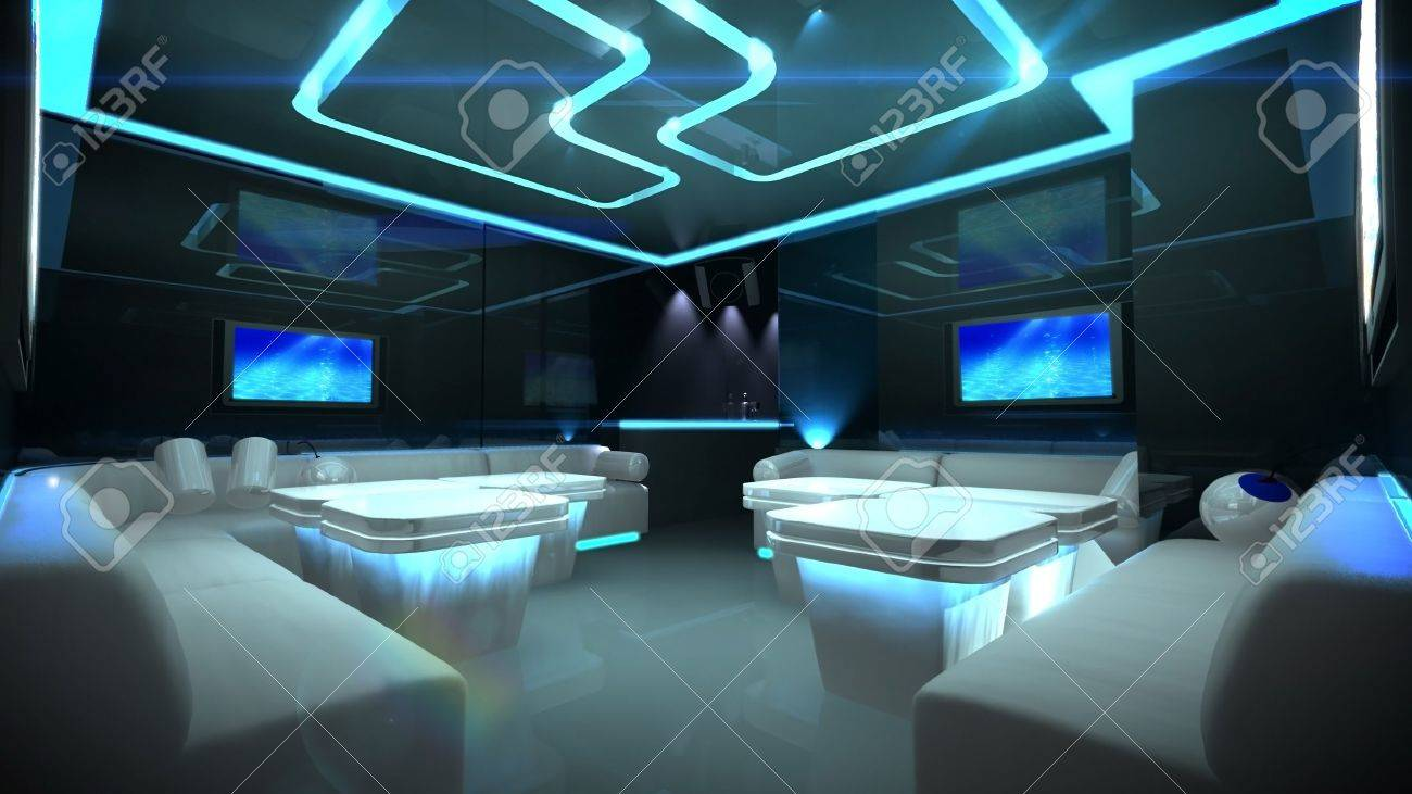 the Nightclub interior design with the cyber style theme - 12835941