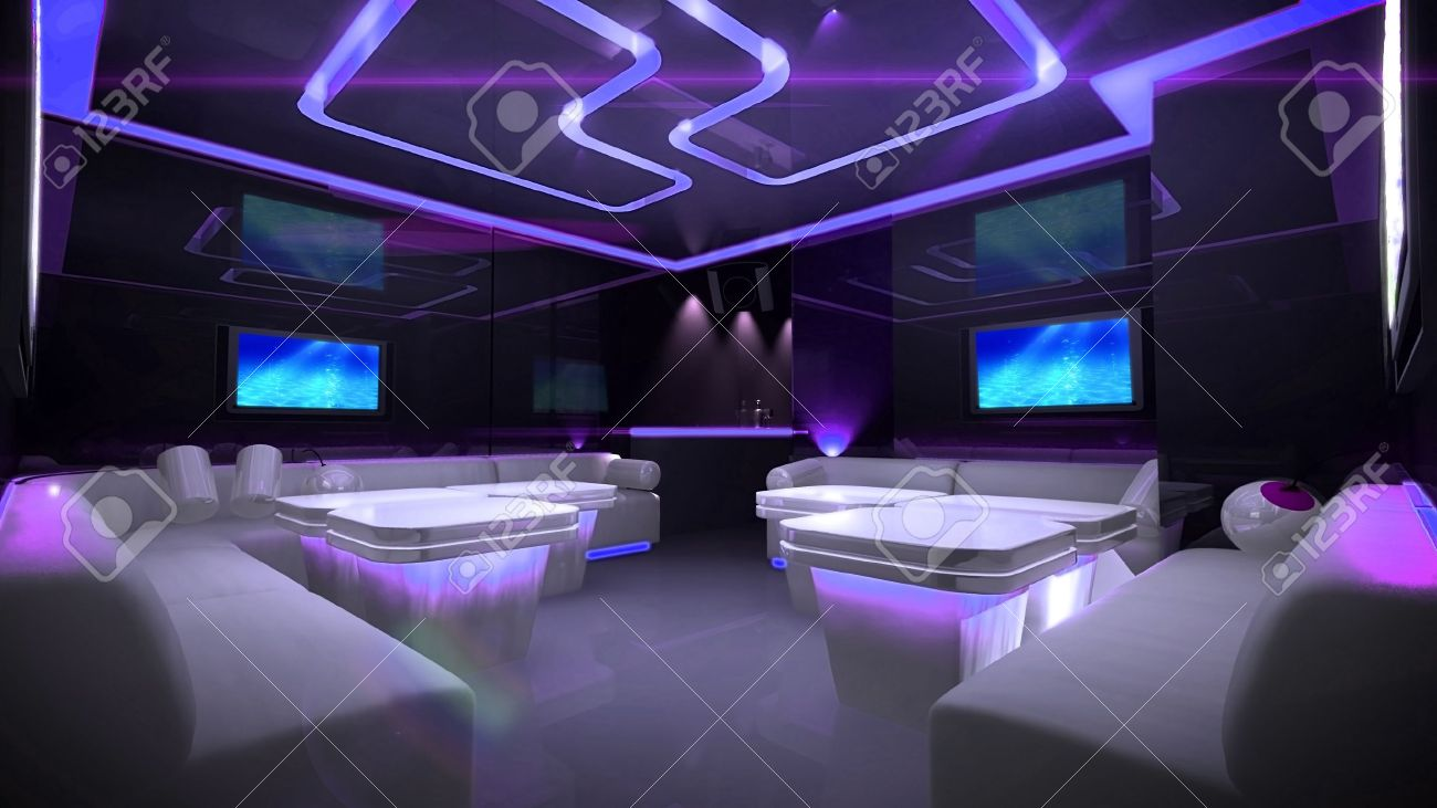 The Nightclub Interior Design With The Cyber Style Theme Stock Photo ...