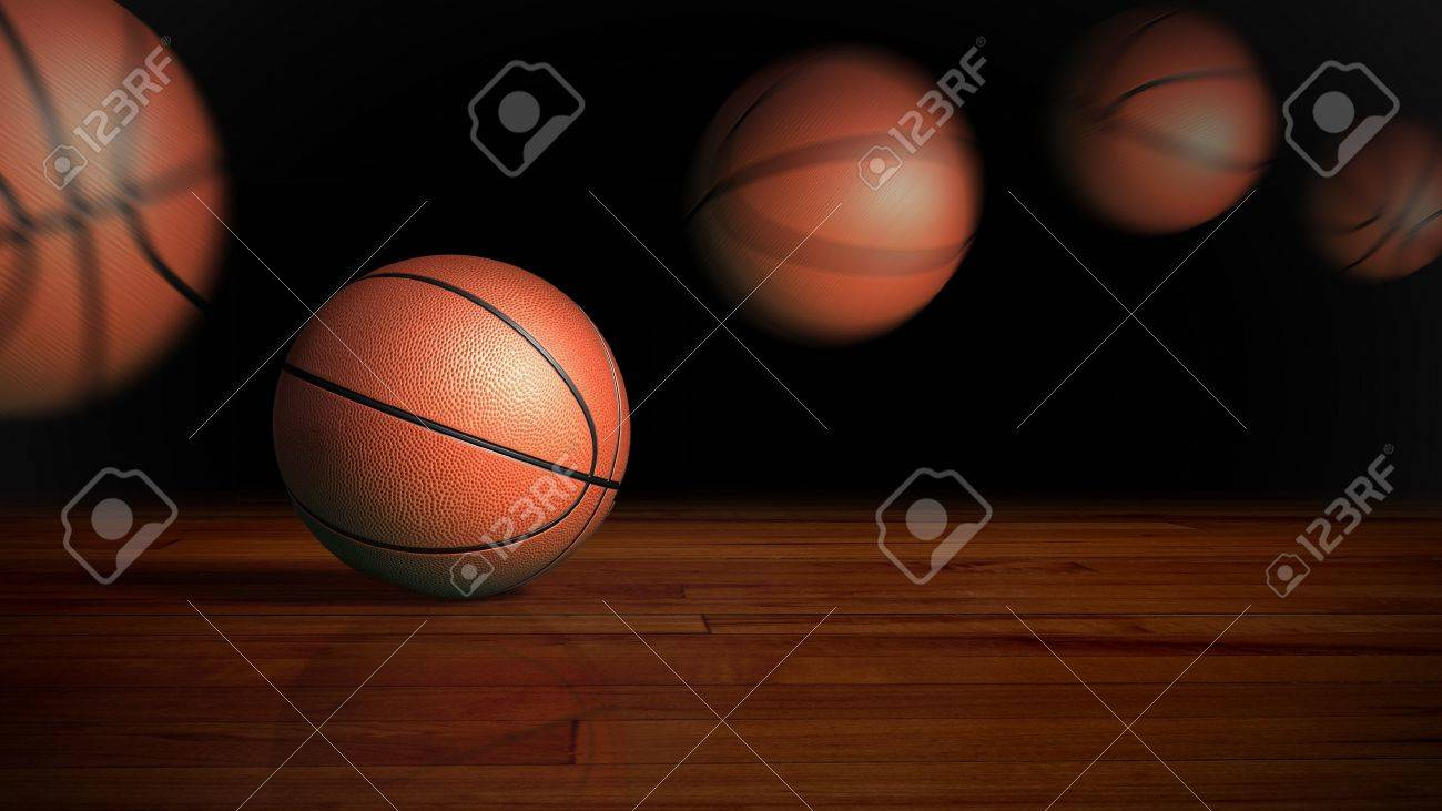 contrast basketball on the wood floor graphic background - 20678802
