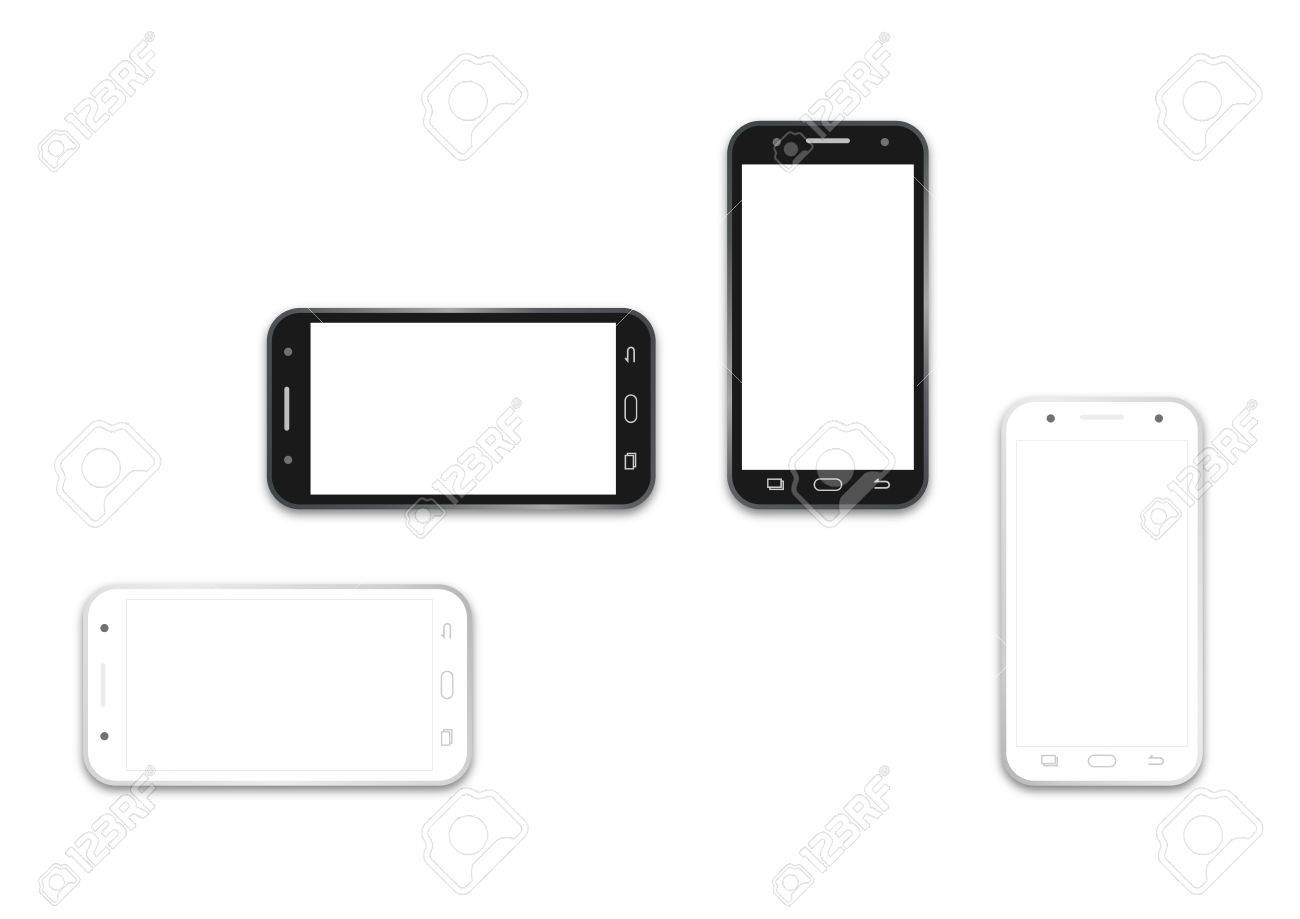 Mobile phone template in paper cut style. Smartphone with.