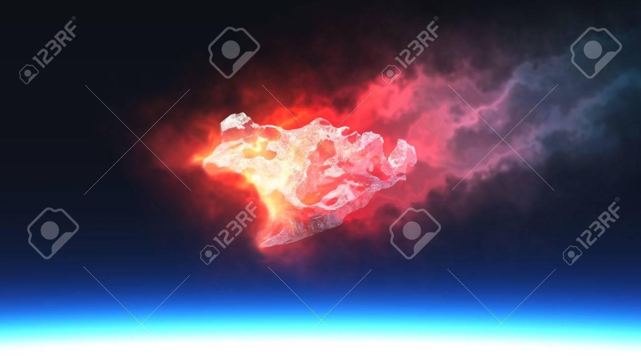 3 D レンダラ ・燃える赤い火隕...