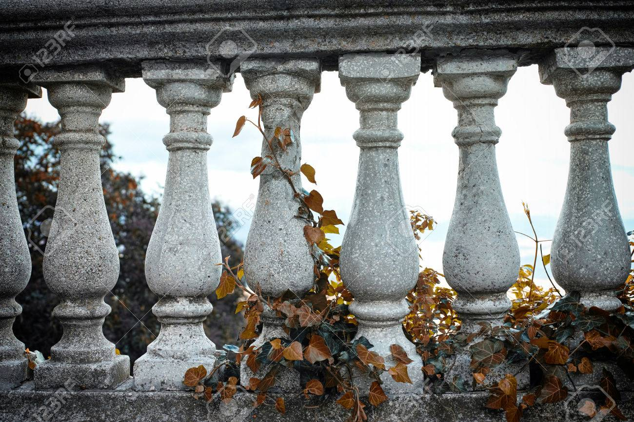 Gray Pillars And Brown Ivy In A Old Italian Garden Stock Photo