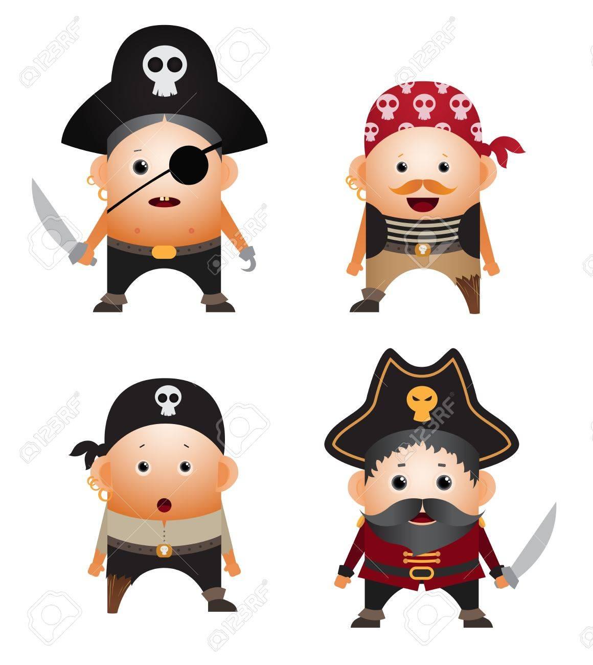 Set of cartoon pirates - 9264265