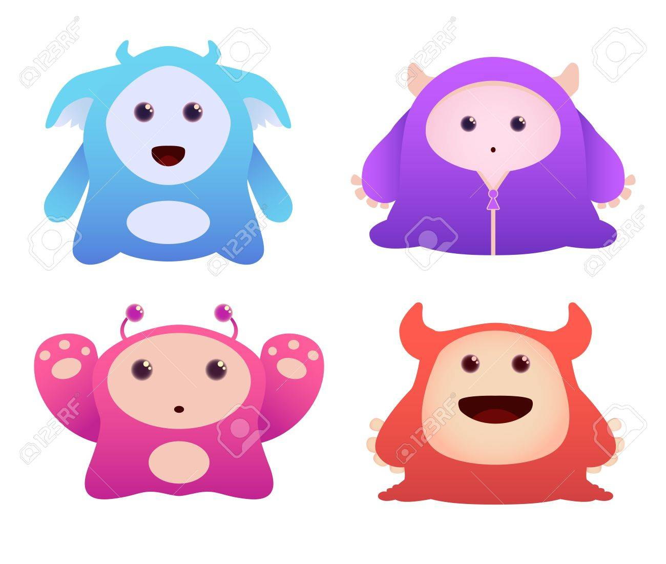 Set of Cute Vector Monsters Stock Vector - 9814650