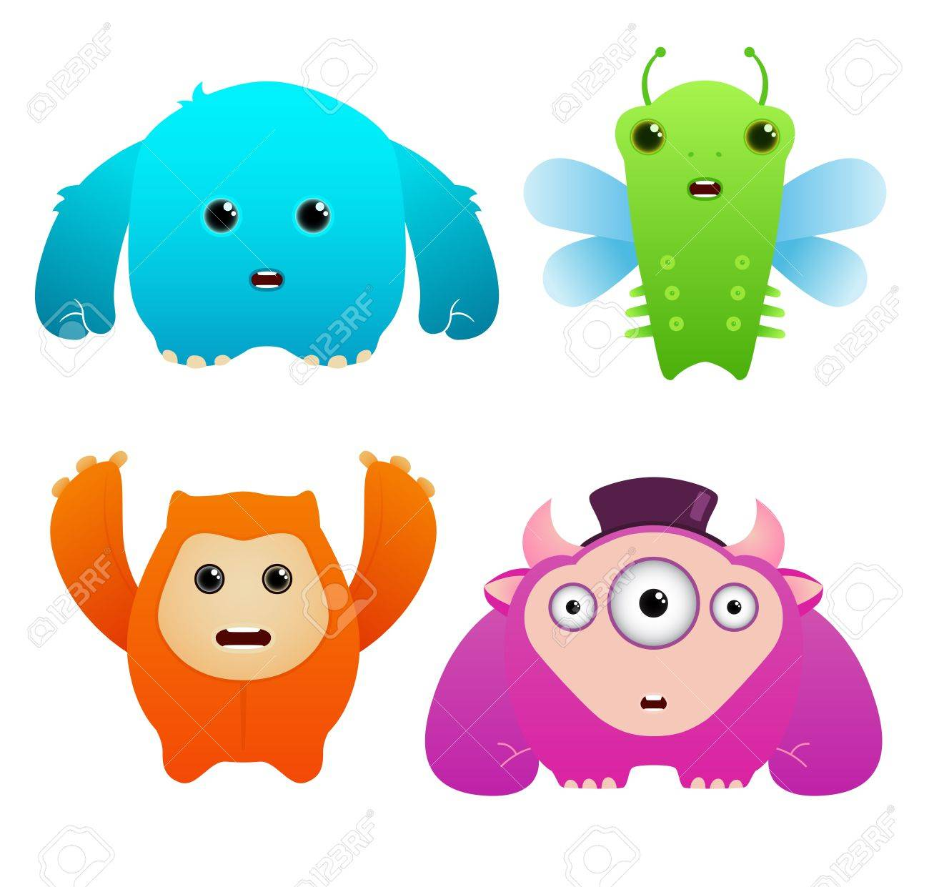 Set of Cute Vector Monsters Stock Vector - 9814643