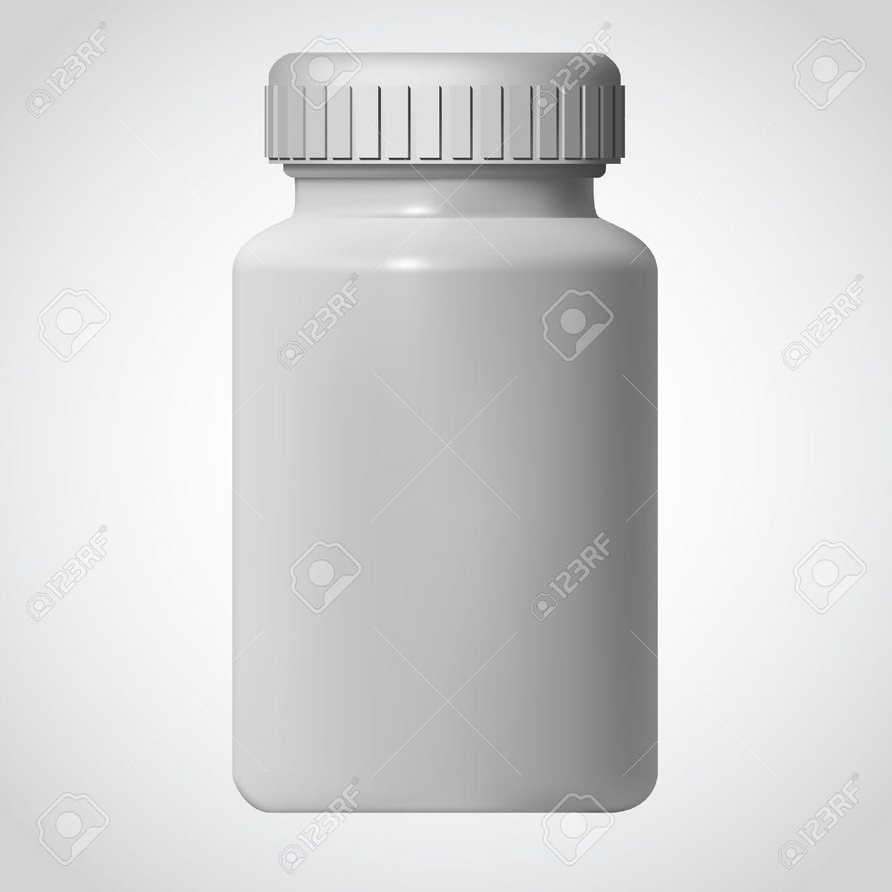 White Pill Blank Bottle Vector Illustration - 9814648