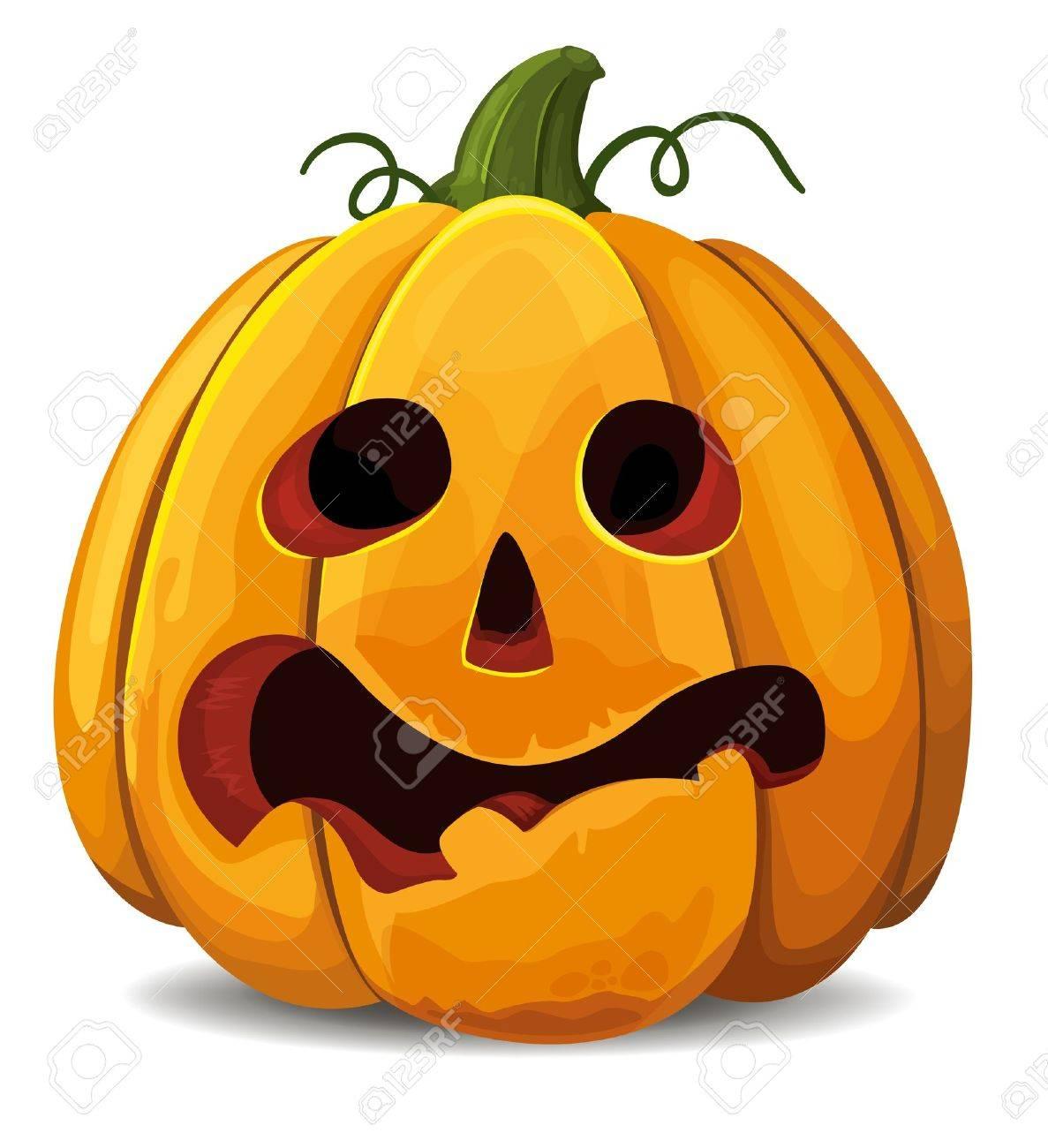 Scared Halloween Pumpkin - 15506213