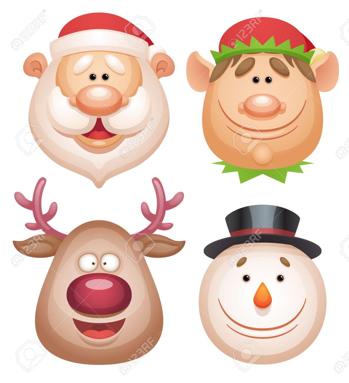 Christmas characters set - Santa, Elf, Deer, Snowman - 15783685