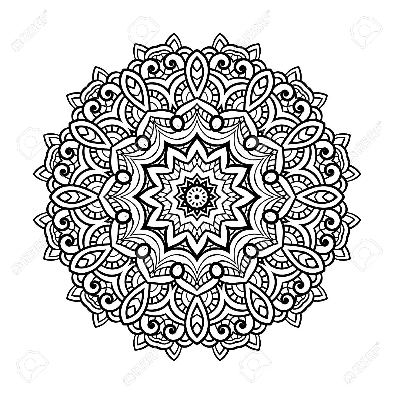 Round for coloring book pages, mandala design. Coloring page with mandala. round ornament lace pattern - 122762985