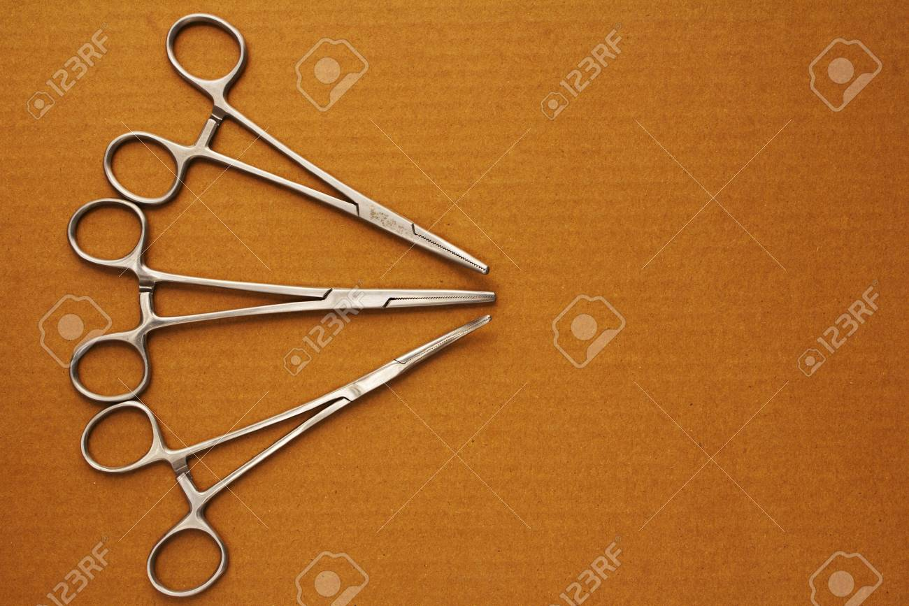 Display of Medical equipments Artery Forceps top view