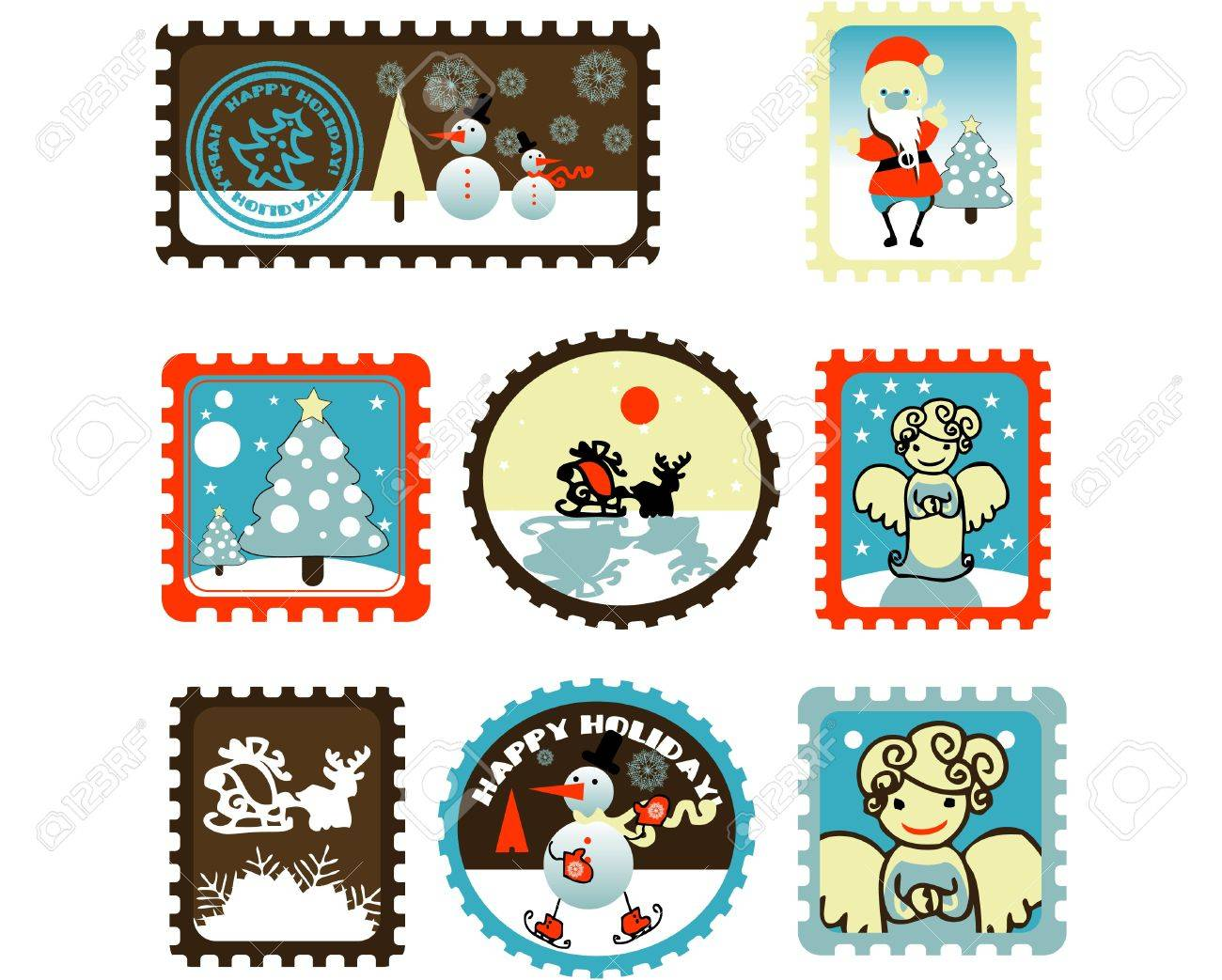 Large Set of colorful Christmas Postage stamps illustration Stock Vector - 9631912