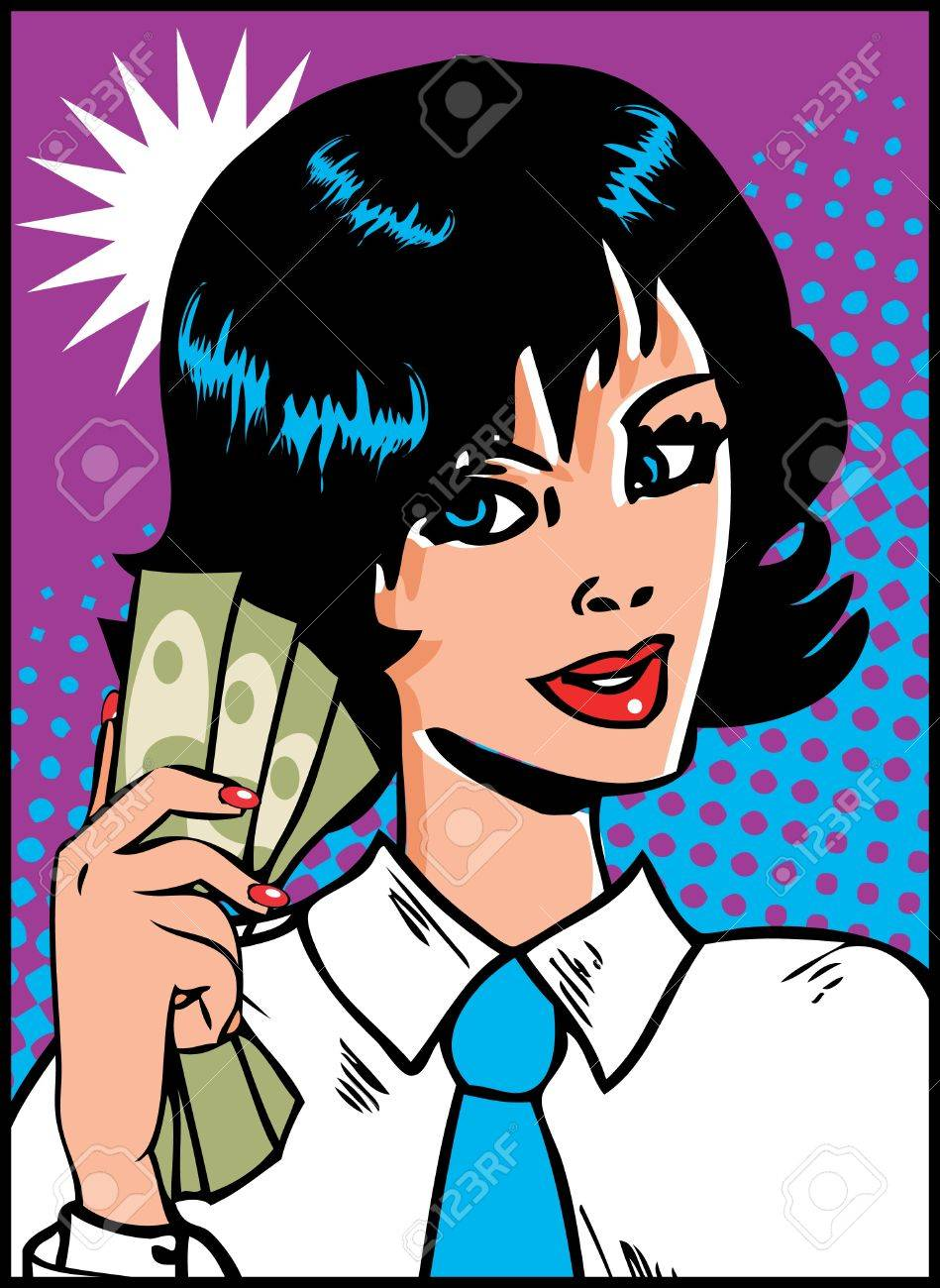 Pop Art Business Woman with money in hand. Vintage Comic Background Stock Vector - 9631865