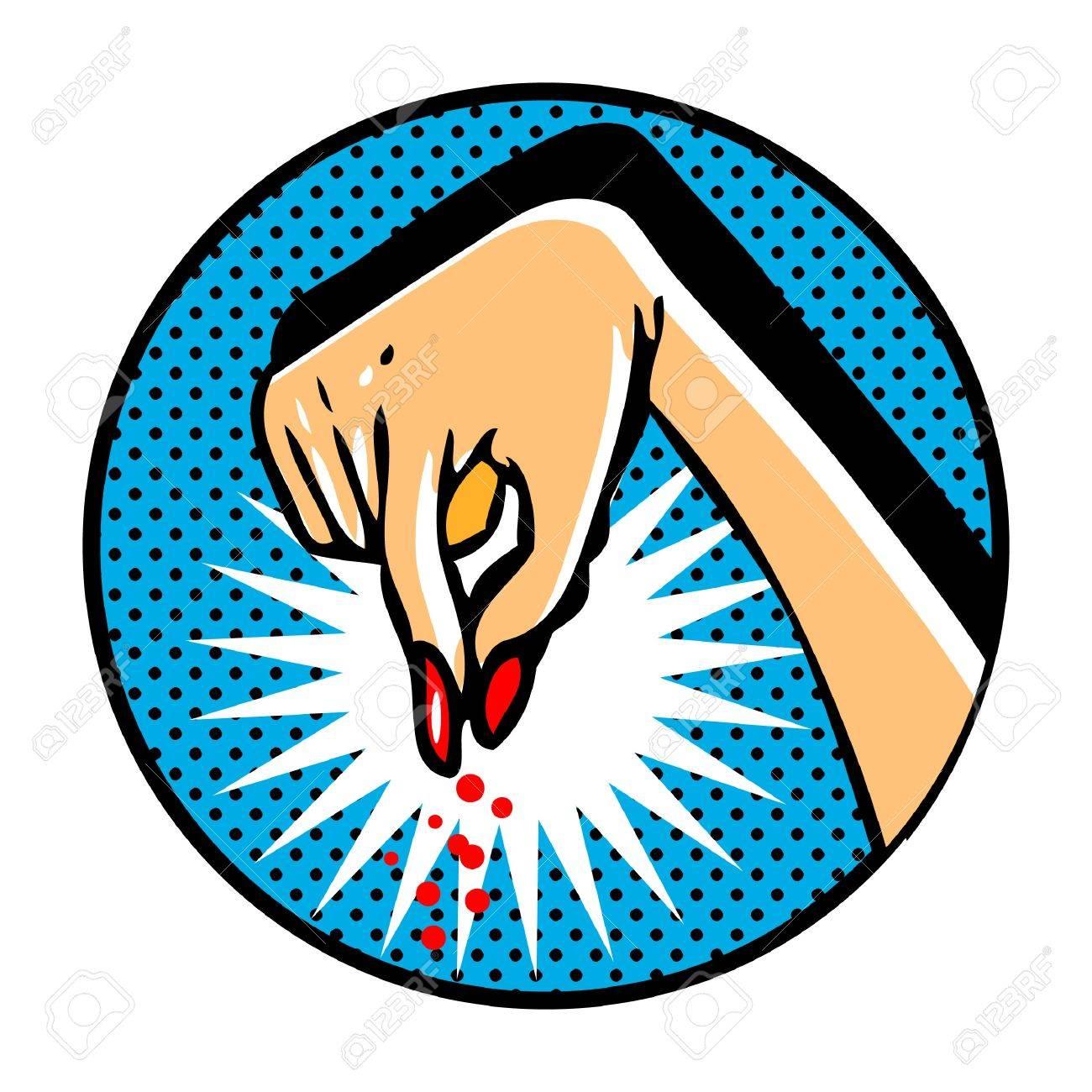 Female hand in pop art comic book style Stock Vector - 9631757