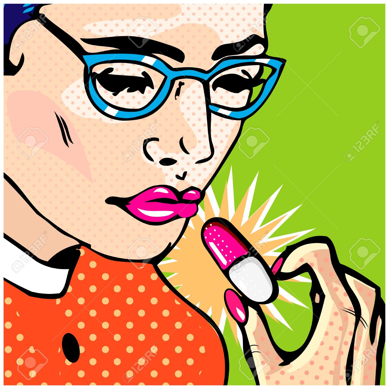 Illustration of a woman consuming a pill Stock Vector - 9885263
