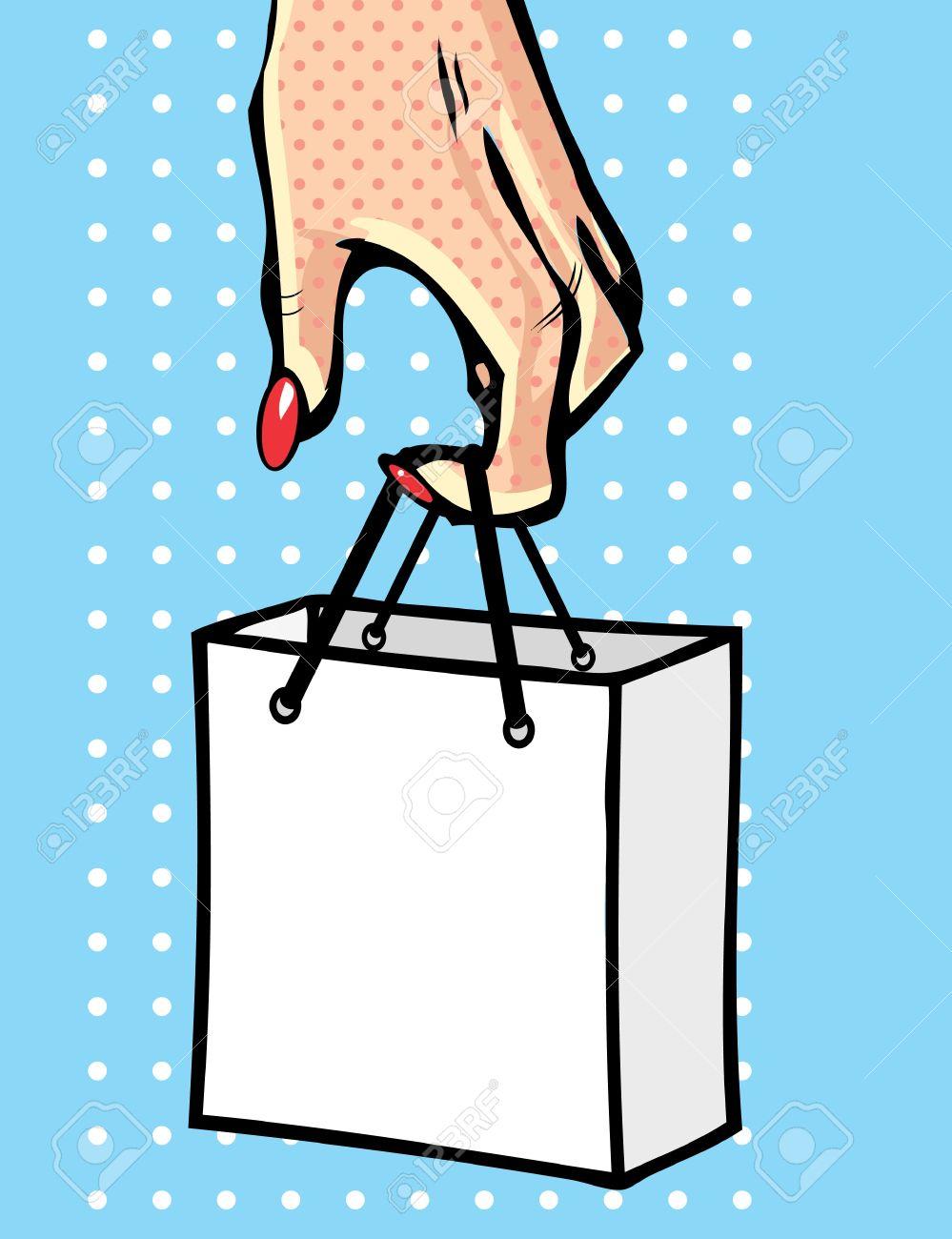 Pop art comic book symbol - Hand with bag. Woman Stock Vector - 9885257
