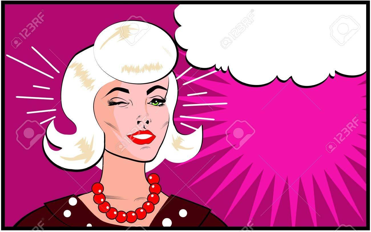 Retro Woman Winking banner - Retro Clip Art comics style Stock Vector - 15770816