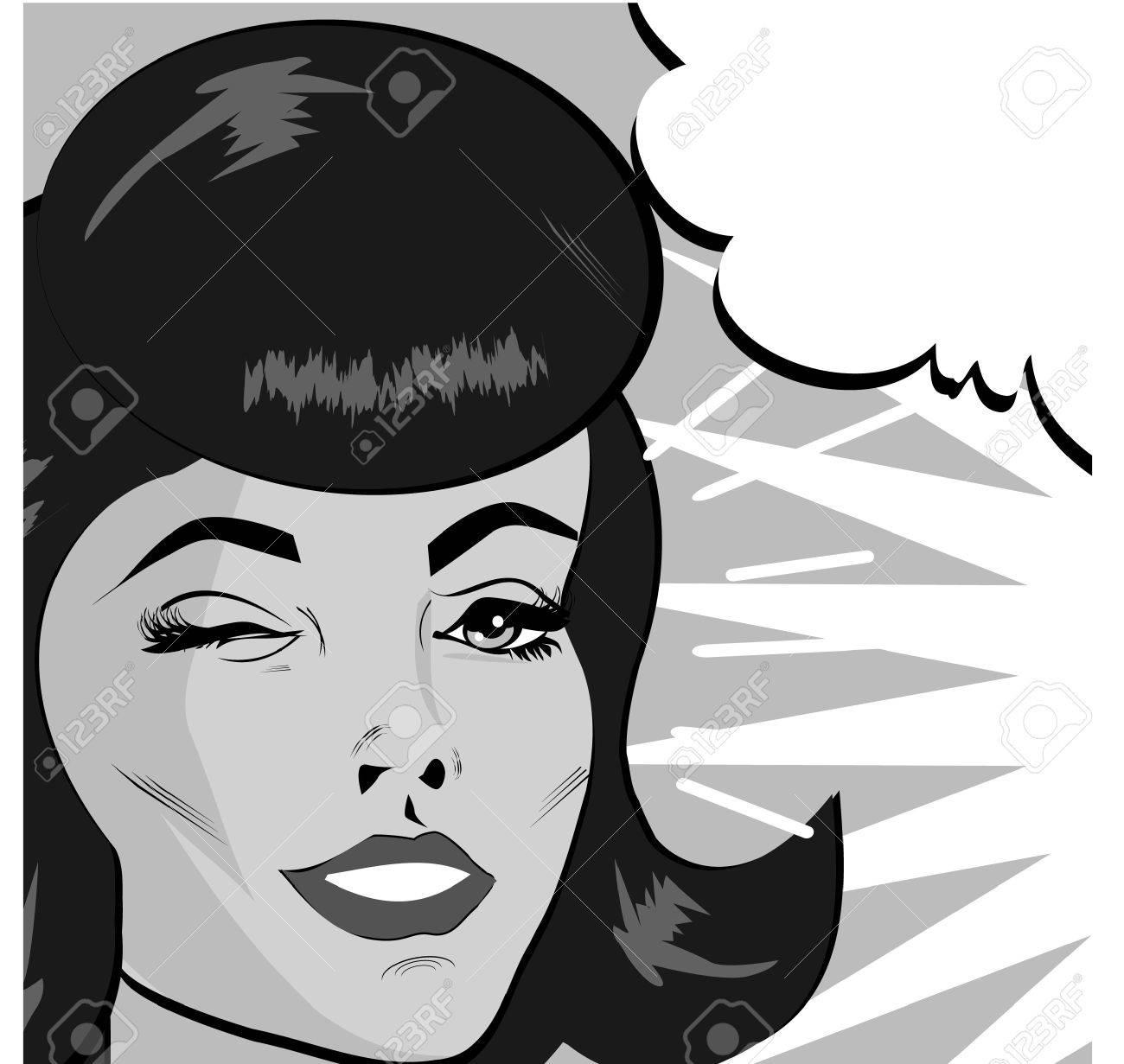 Retro Woman Winking banner - Retro Clip Art comics style Stock Vector - 15770303