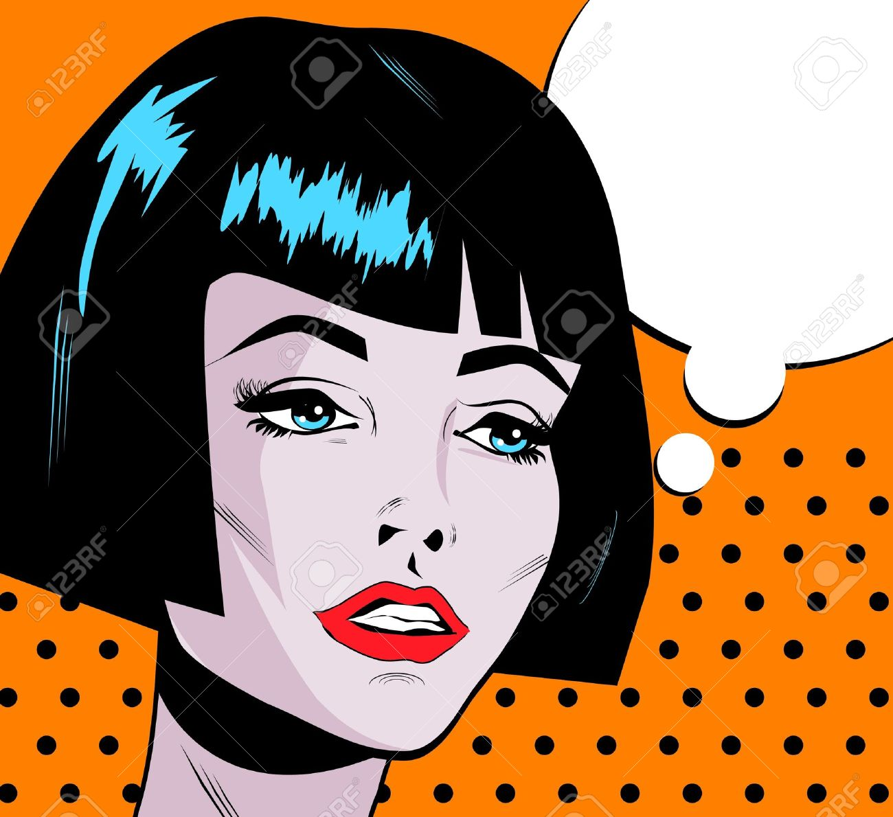 Pop Art Woman Say Beauty Fashion face with red lips and dark hair cut Stock Vector - 15770326