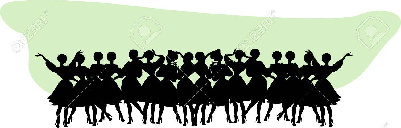 Vintage Title header Woman Silhouette Stock Vector - 15770853