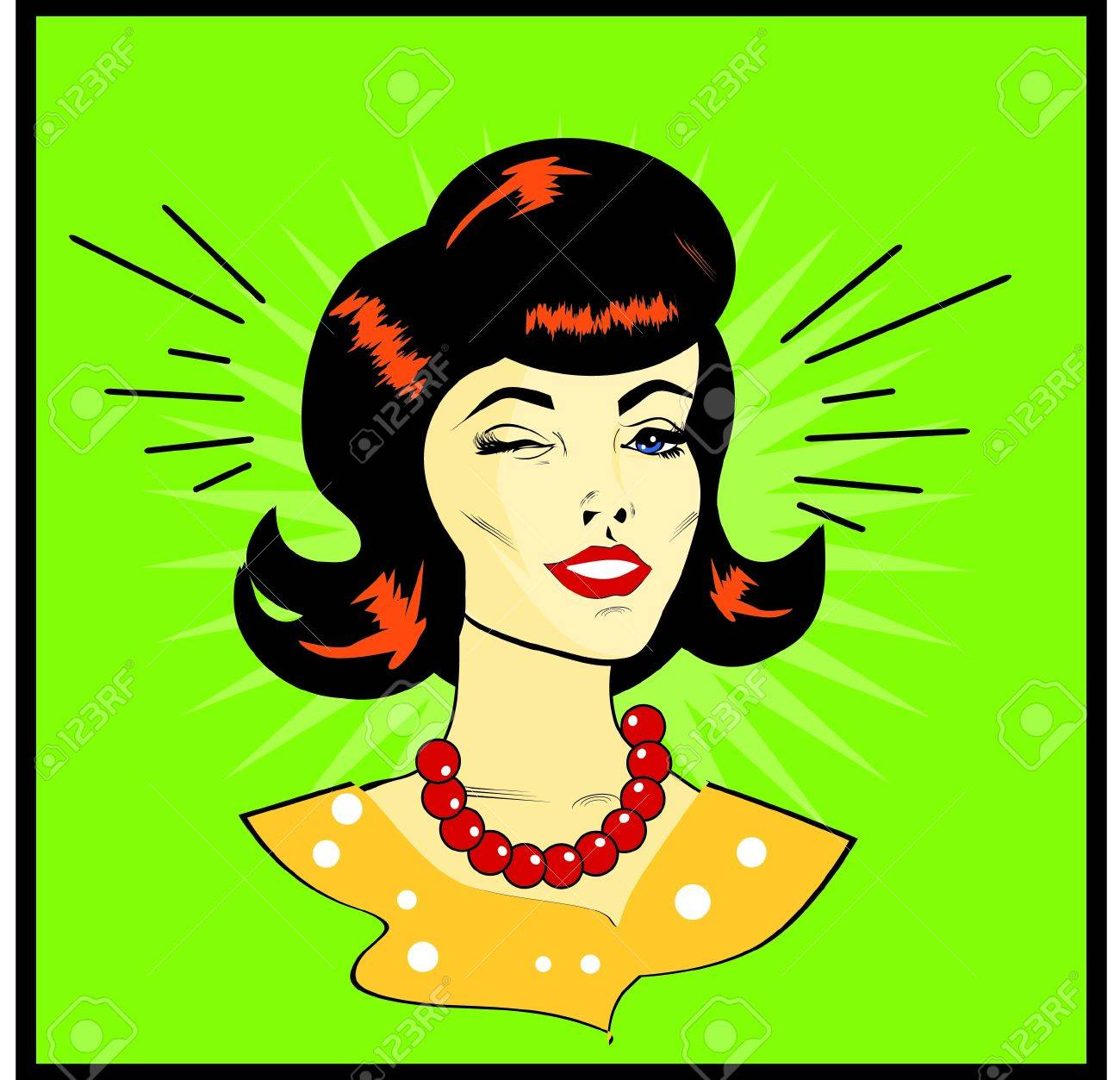 Retro Woman Winking - Retro Clip Art Stock Vector - 15770882