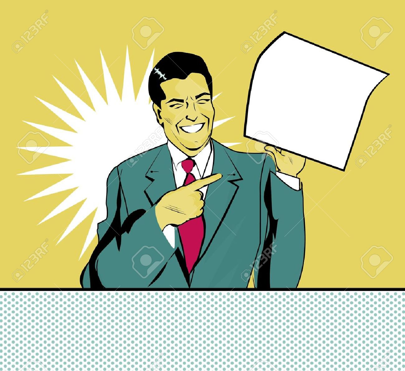 happy advertising man with sheet of paper in a hand in pop art comic style Stock Vector - 15770989