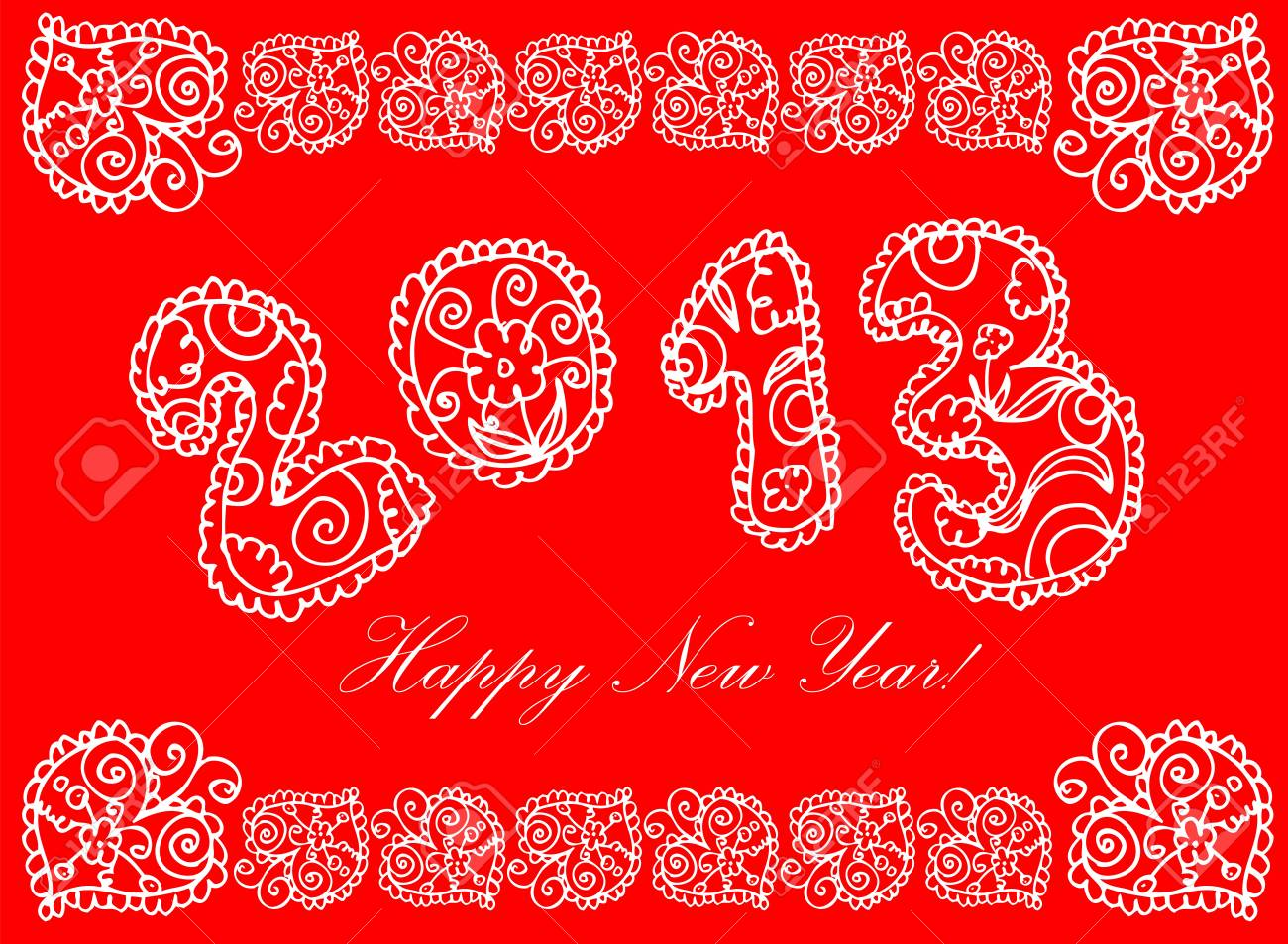 happy new year in flower 2013 on a white background Stock Vector - 15771005