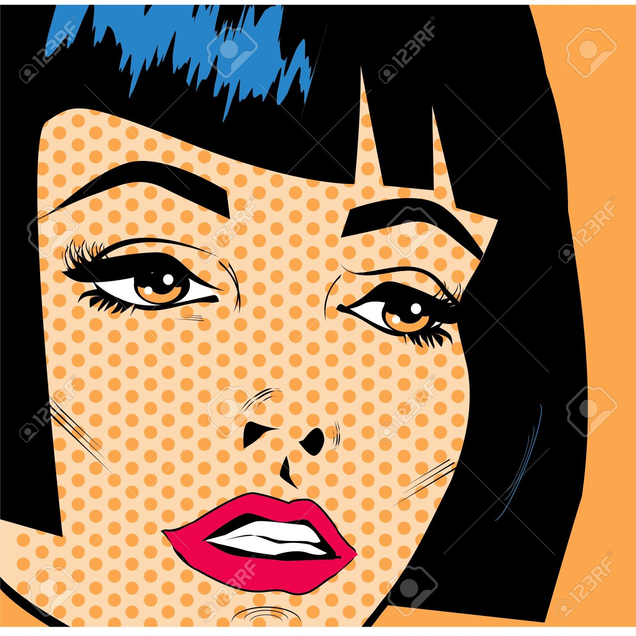 Vintage Woman Face Pop Art Retro Poster Royalty Free Cliparts