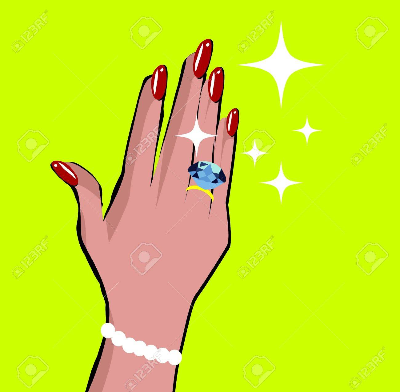 Female Hand With Wedding Ring Love Background In Pop Art Comic ...